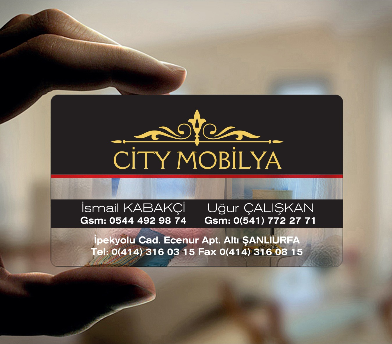 City Mobilya Şeffaf Kartvizit Tasarımı