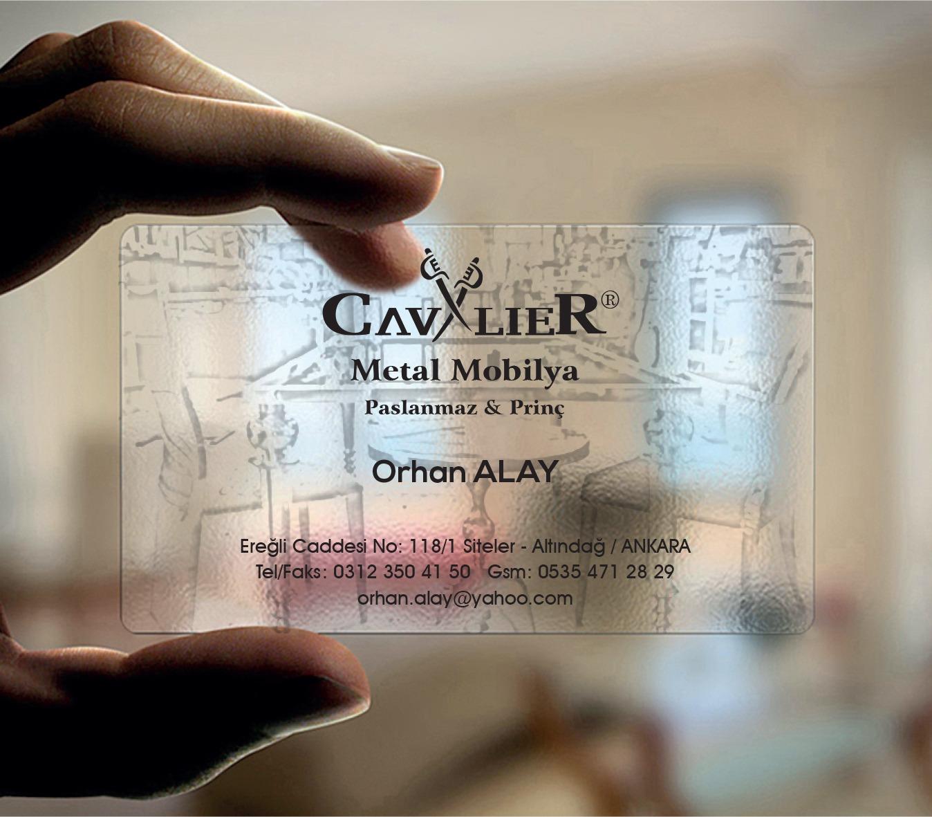 Cavalier Metal Mobilya Şeffaf Kartvizit Tasarımı