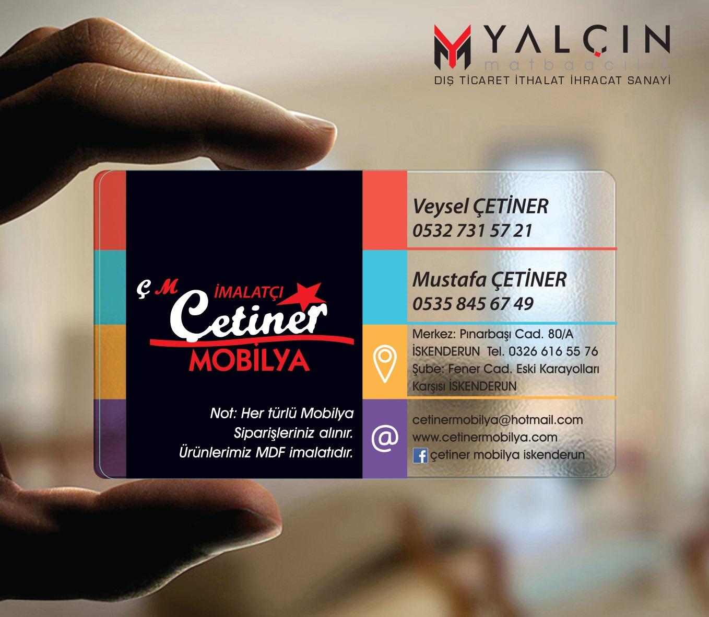Çetiner Mobilya şeffaf kartvizit tasarımı